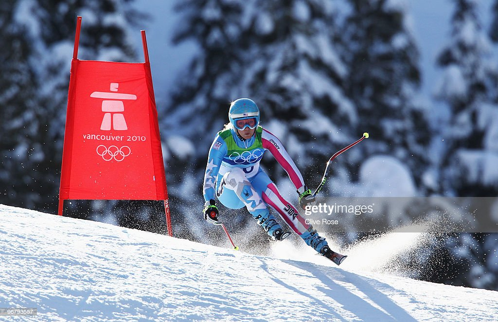 <a gi-track='captionPersonalityLinkClicked' href=/galleries/search?phrase=Julia+Mancuso&family=editorial&specificpeople=214615 ng-click='$event.stopPropagation()'>Julia Mancuso</a> of the United States competes during the Alpine Skiing Ladies Downhill on day 6 of the Vancouver 2010 Winter Olympics at Whistler Creekside on February 17, 2010 in Whistler, Canada.