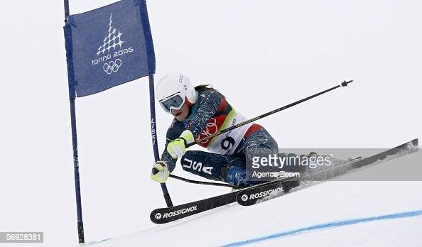 Julia Mancuso of the United States competes during the Womens Giant Slalom during the Turin 2006 Winter Olympic Games February 24 2006 in Sestriere...