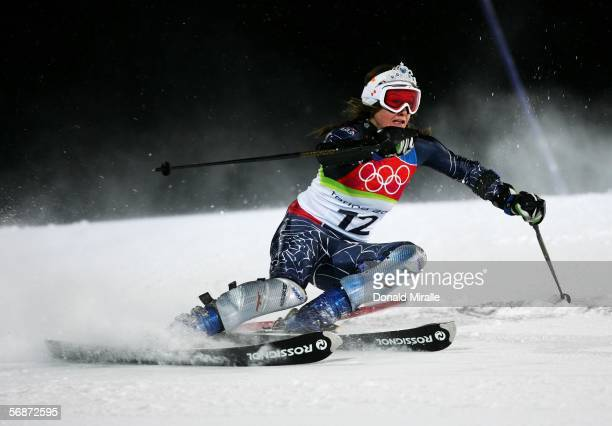 Julia Mancuso of the United States competes in the Slalom section of the Womens Combined Alpine Skiing competition on Day 7 of the 2006 Turin Winter...