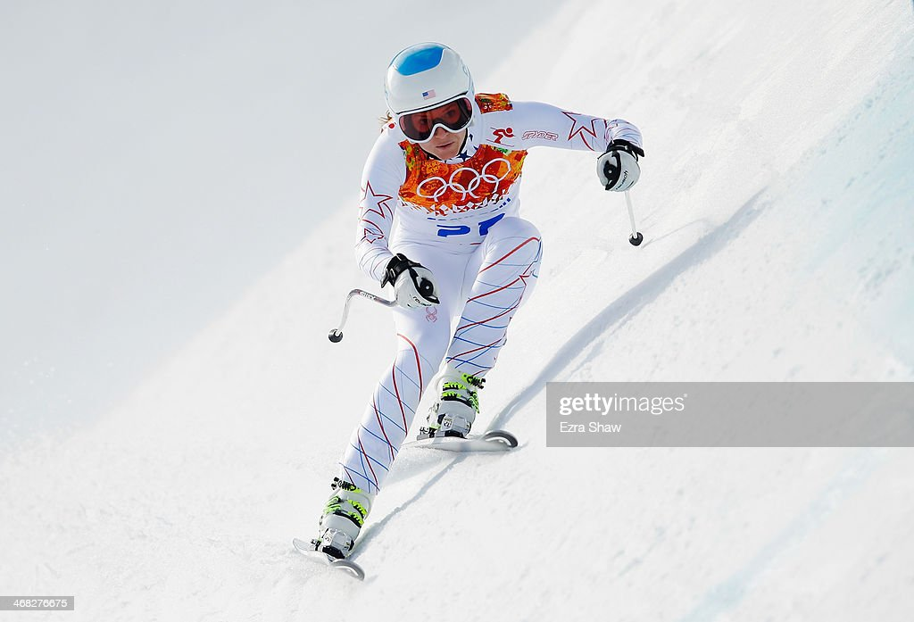 <a gi-track='captionPersonalityLinkClicked' href=/galleries/search?phrase=Julia+Mancuso&family=editorial&specificpeople=214615 ng-click='$event.stopPropagation()'>Julia Mancuso</a> of the United States in action during the Alpine Skiing Women's Super Combined Downhill on day 3 of the Sochi 2014 Winter Olympics at Rosa Khutor Alpine Center on February 10, 2014 in Sochi, Russia.