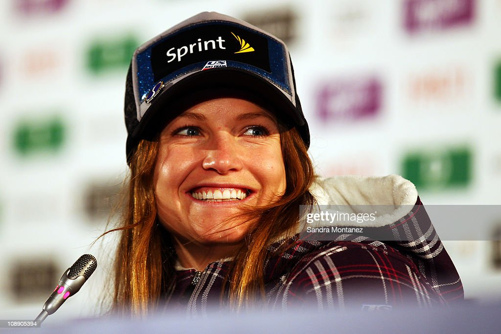 Julia Mancuso of the United States of America smiles during a press conference after taking 2nd place in the Women's Super G during the Alpine FIS Ski World Championships on the Kandahar course on February 8, 2011 in Garmisch-Partenkirchen, Germany.