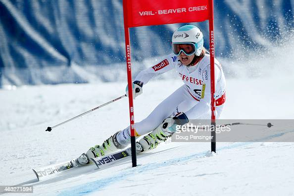 Julia Mancuso of the United States races during the Ladies' Giant Slalom on the Raptor racecourse on Day 11 of the 2015 FIS Alpine World Ski...