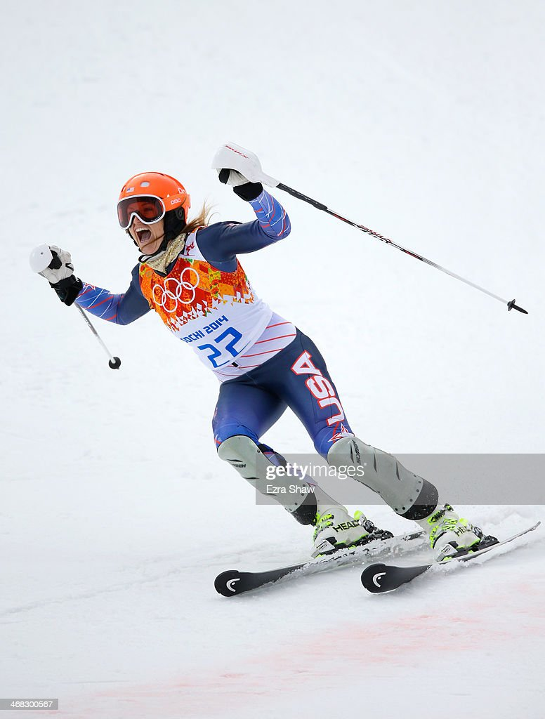 <a gi-track='captionPersonalityLinkClicked' href=/galleries/search?phrase=Julia+Mancuso&family=editorial&specificpeople=214615 ng-click='$event.stopPropagation()'>Julia Mancuso</a> of the United States reacts during the Alpine Skiing Women's Super Combined Slalom on day 3 of the Sochi 2014 Winter Olympics at Rosa Khutor Alpine Center on February 10, 2014 in Sochi, Russia.