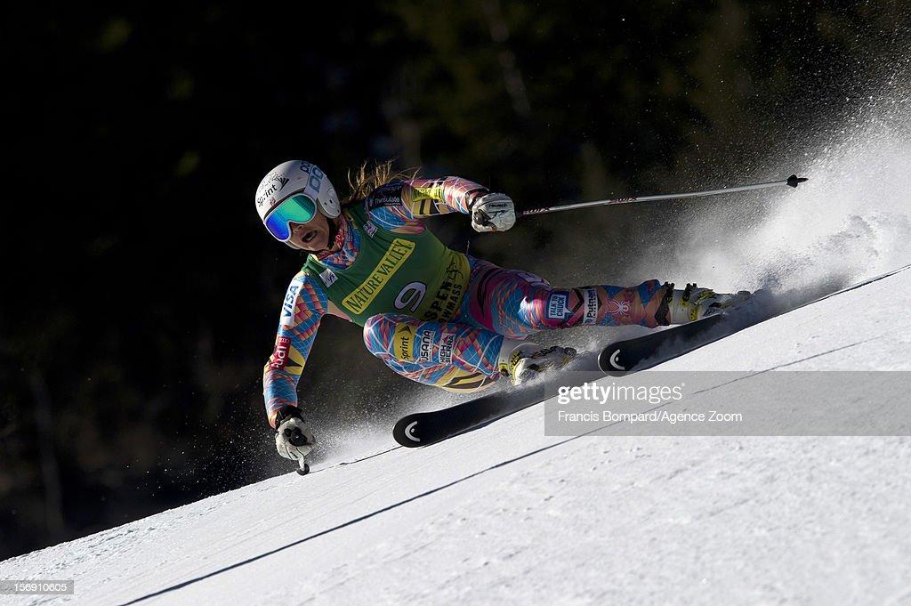 Julia Mancuso of the USA competes during the Audi FIS Alpine Ski World Cup Women's Giant Slalom on November 24, 2012 in Aspen, Colorado.