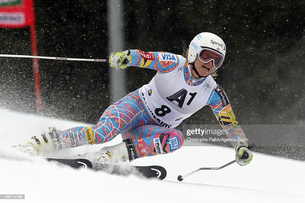 <a gi-track='captionPersonalityLinkClicked' href=/galleries/search?phrase=Julia+Mancuso&family=editorial&specificpeople=214615 ng-click='$event.stopPropagation()'>Julia Mancuso</a> of the USA competes during the Audi FIS Alpine Ski World Cup Women's Giant Slalom on December 28, 2012 in Semmering, Austria.