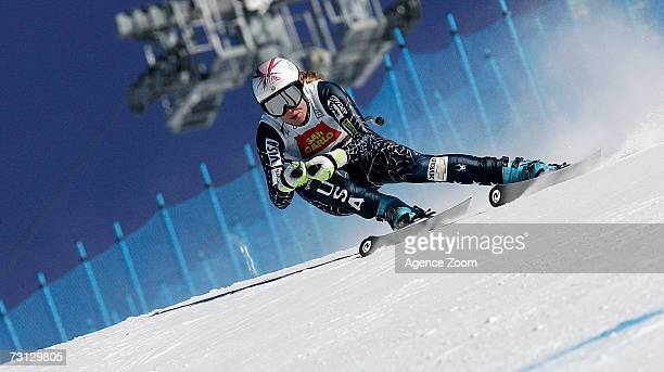 Julia Mancuso of the USA competes during the FIS Skiing World Cup Women's Downhill on January 27 2007 in San Sicario Italy