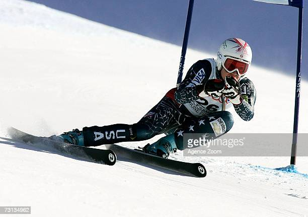 Julia Mancuso of the USA competes during the FIS Skiing World Cup Women's SuperG on January 28 2007 in San Sicario Italy
