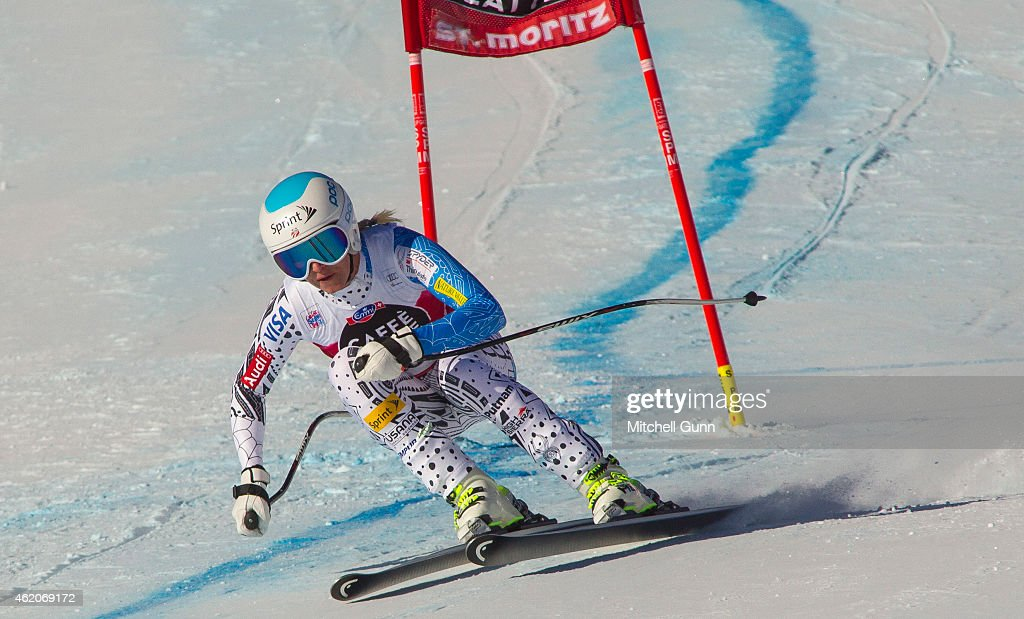 <a gi-track='captionPersonalityLinkClicked' href=/galleries/search?phrase=Julia+Mancuso&family=editorial&specificpeople=214615 ng-click='$event.stopPropagation()'>Julia Mancuso</a> of The USA competing in the Audi FIS Alpine Skiing World Cup women's downhill race on January 24, 2015 in St Moritz, Switzerland.