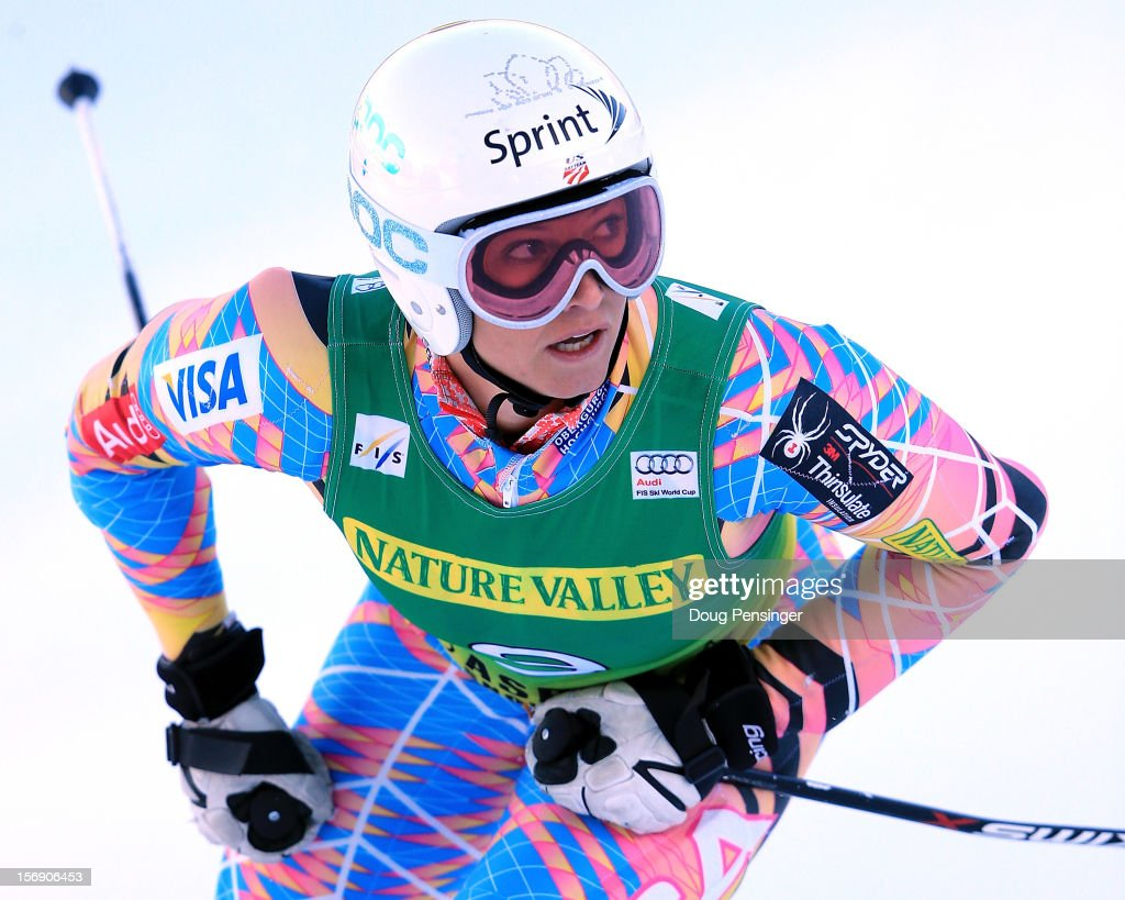 <a gi-track='captionPersonalityLinkClicked' href=/galleries/search?phrase=Julia+Mancuso&family=editorial&specificpeople=214615 ng-click='$event.stopPropagation()'>Julia Mancuso</a> of the USA reacts as she finishes 15th in the women's giant slalom at the Nature Valley Aspen Winternational Audi FIS Ski World Cup at Aspen Mountain on November 24, 2012 in Aspen, Colorado.