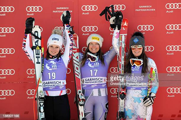 Julia Mancuso of the USA takes 1st place Anna Fenninger of Austria takes 2nd place Tina Weirather of Liechtenstein takes 3rd place during the Audi...