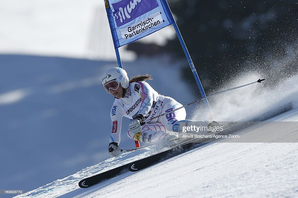 Julia Mancuso of the USA takes 3rd place during the Audi FIS Alpine Ski World Cup Women's SuperG on March 03, 2013 in Garmisch-Partenkirchen, Germany.