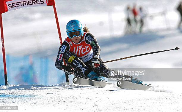 Julia Mancuso of the USA takes 8th Place during the FIS Alpine Ski World Cup Women's Super G event on February 10 2008 in Sestriere Italy