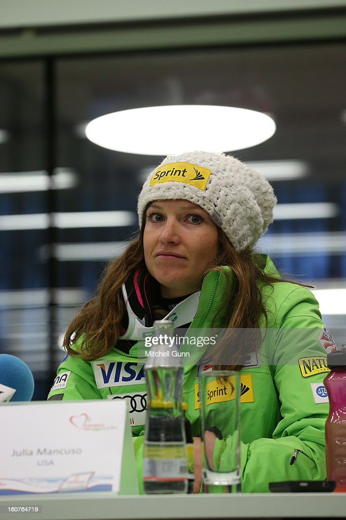 Julia Mancuso of USA 3rd placed racer during her after race press conference for the Alpine FIS Ski World Championships super giant slalom (SuperG) race on February 05, 2013 in Schladming, Austria,