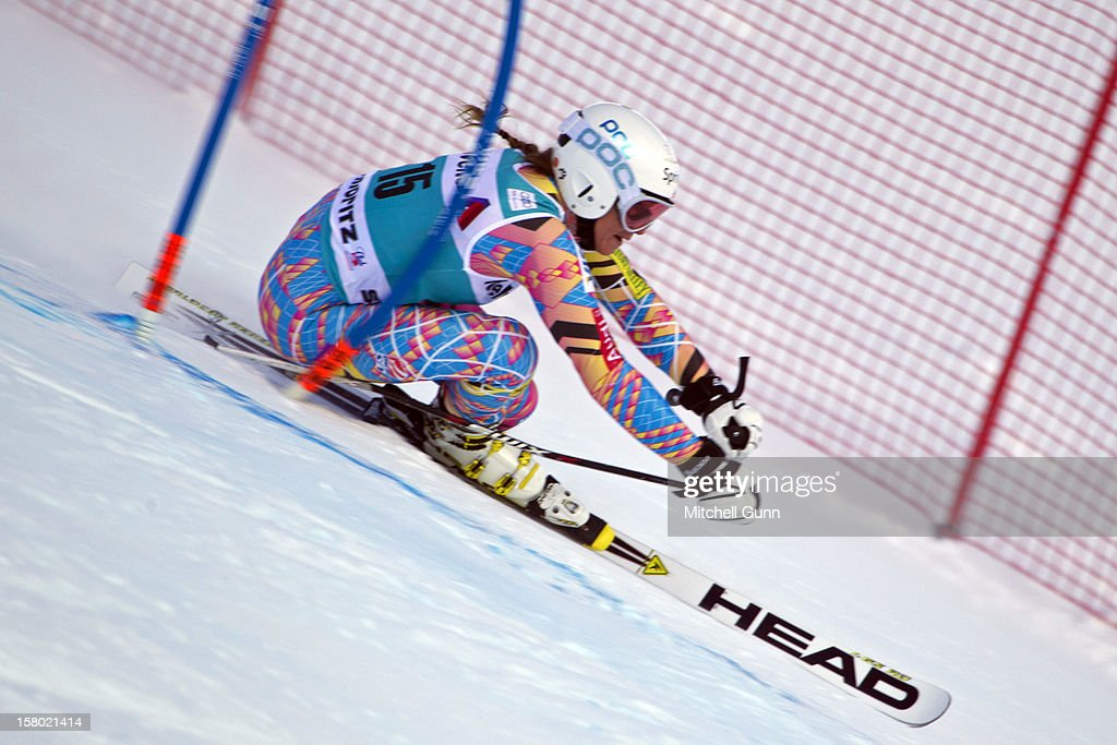 Julia Mancuso of USA races down the piste during the Audi FIS Alpine Ski World Giant Slalom race on December 9 2012 in St Moritz, Switzerland.