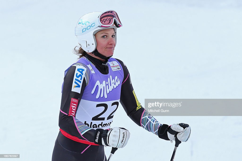 <a gi-track='captionPersonalityLinkClicked' href=/galleries/search?phrase=Julia+Mancuso&family=editorial&specificpeople=214615 ng-click='$event.stopPropagation()'>Julia Mancuso</a> of USA reacts in the finish area after competing in the Alpine FIS Ski World Championships super giant slalom (SuperG) race on February 05, 2013 in Schladming, Austria,