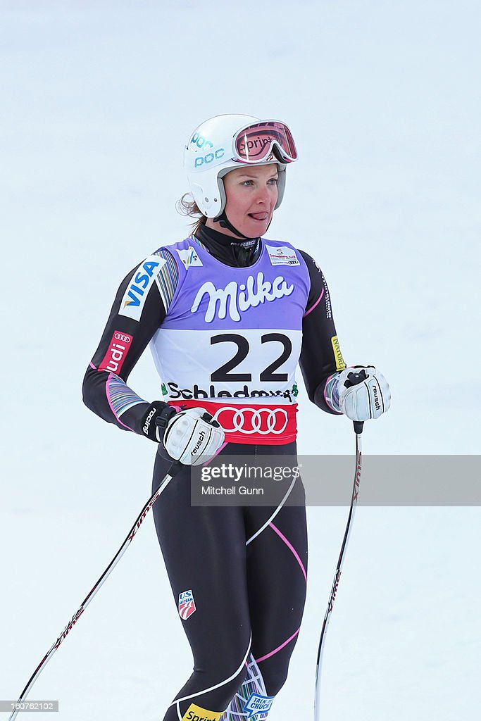Julia Mancuso of USA reacts in the finish area after competing in the Alpine FIS Ski World Championships super giant slalom (SuperG) race on February 05, 2013 in Schladming, Austria,