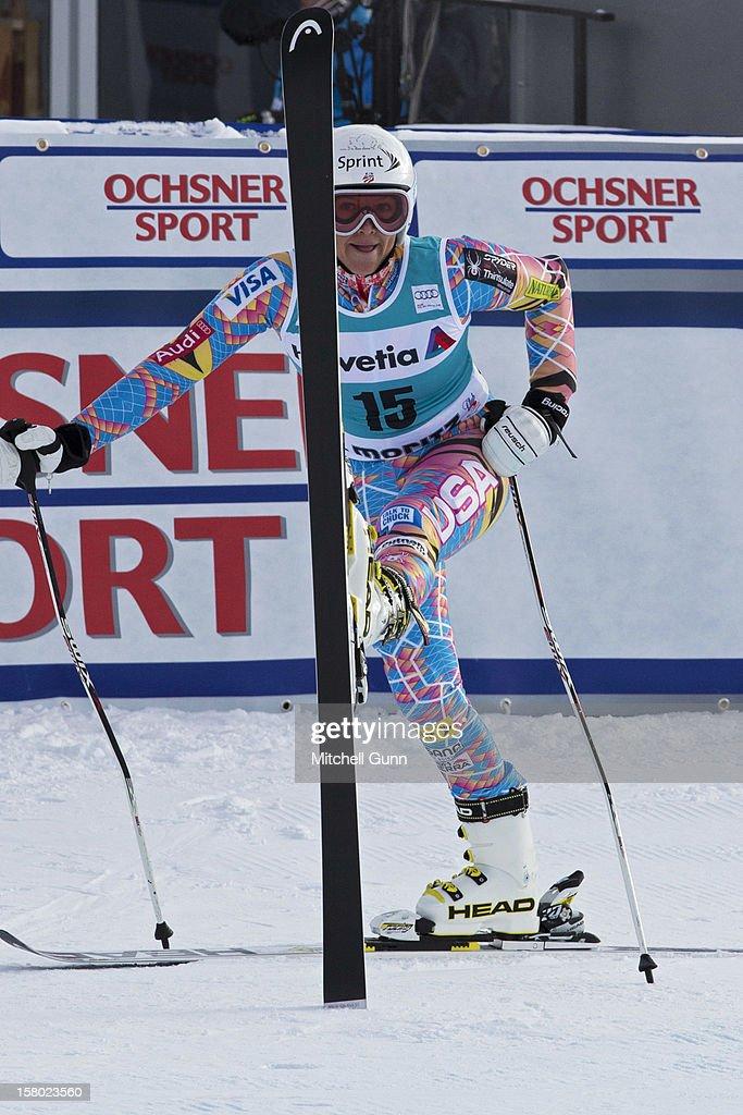Julia Mancuso of USA reacts in the finish area of the Audi FIS Alpine Ski World Giant Slalom race on December 9 2012 in St Moritz, Switzerland.