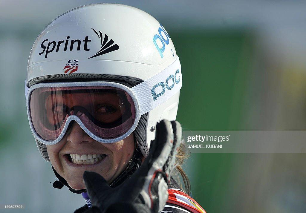 US Julia Mancuso reacts in finish area at the women's World Cup Super G, on January 13, 2013 in St Anton am Arlberg, Austria. Slovenia's Tina Maze won ahead of Austria's Anna Fenninger and Switzerland's Fabienne Suter.