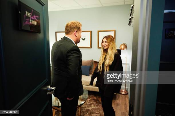 Julia Michaels chats in the green room with James Corden during 'The Late Late Show with James Corden' Thursday July 27 2017 On The CBS Television...