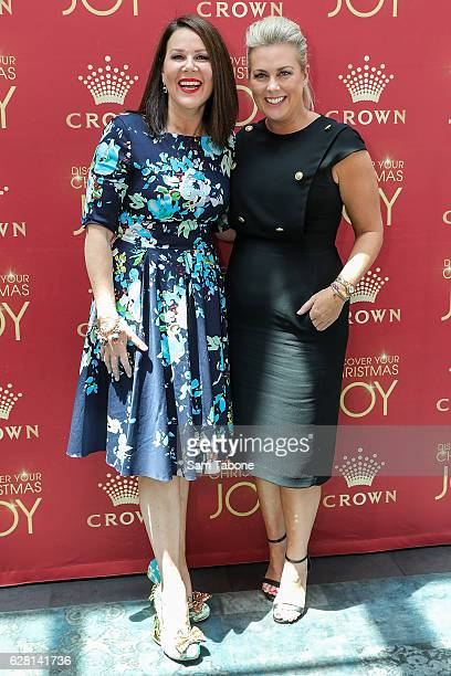 Julia Morris and Samantha Armytage attends Ann Peacock's Women in Media Christmas Luncheon at The Atlantic at Crown Casino on December 7 2016 in...