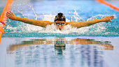 Julia Mrozinski of Germany competes in the Women 100m butterfly final during the 12th annual SwimCup Eindhoven held at Pieter van den Hoogenband...