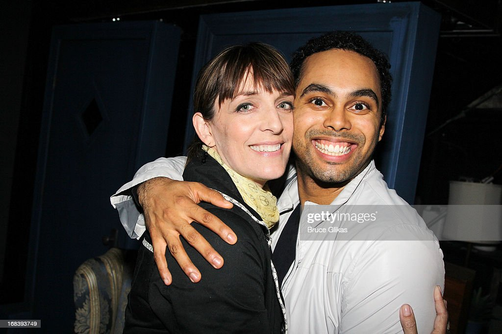 <a gi-track='captionPersonalityLinkClicked' href=/galleries/search?phrase=Julia+Murney&family=editorial&specificpeople=171553 ng-click='$event.stopPropagation()'>Julia Murney</a> and Jesse Nager pose backstage at the Tony Nominated hit musical 'Motown:The Musical' on Broadway at The Lunt-Fontanne Theater on May 8, 2013 in New York City.