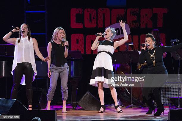 Julia Murney Caissie Levy Anika Larsen and Shayna Steele perform during Concert For America Stand Up Sing Out Town Hall on January 20 2017 in New...