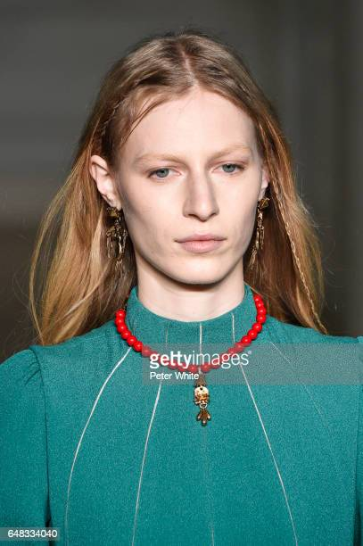 Julia Nobis beauty detail walks the runway during the Valentino show as part of the Paris Fashion Week Womenswear Fall/Winter 2017/2018 on March 5...