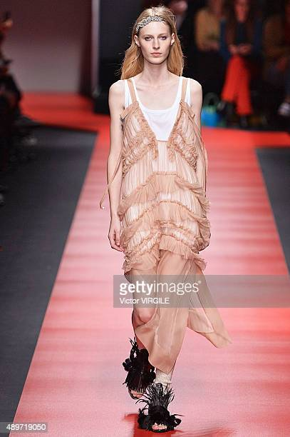 Julia Nobis walks the runway during the N21 Ready to Wear fashion show as part of Milan Fashion Week Spring/Summer 2016 on September 23 2015 in Milan...