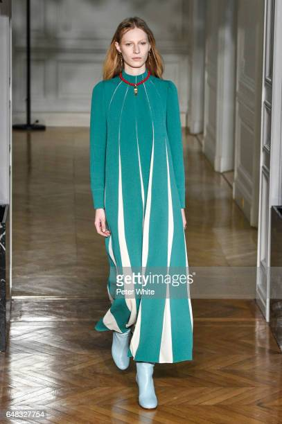 Julia Nobis walks the runway during the Valentino show as part of the Paris Fashion Week Womenswear Fall/Winter 2017/2018 on March 5 2017 in Paris...