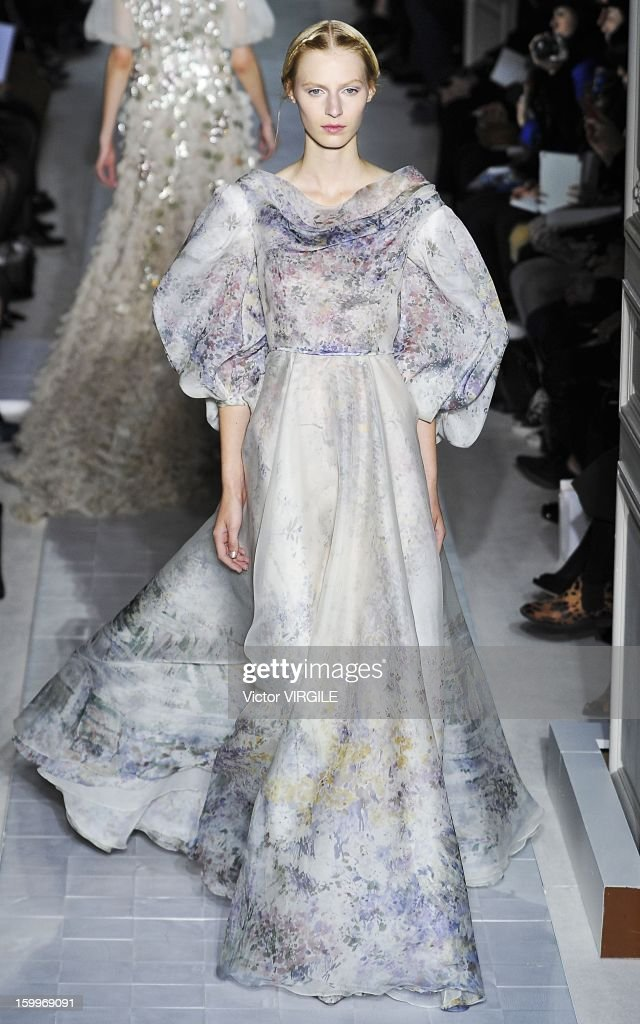 Julia Nobis walks the runway during the Valentino Spring/Summer 2013 Haute-Couture show as part of Paris Fashion Week at Hotel Salomon de Rothschild on January 23, 2013 in Paris, France.