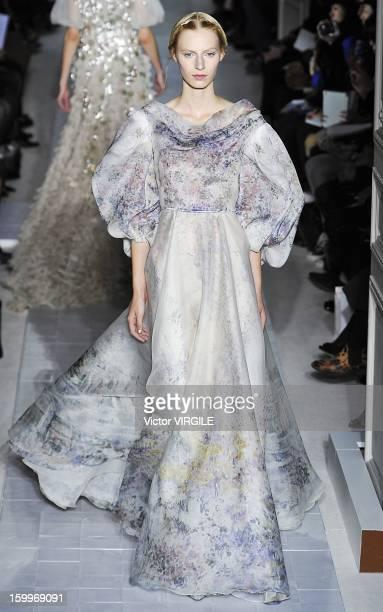 Julia Nobis walks the runway during the Valentino Spring/Summer 2013 HauteCouture show as part of Paris Fashion Week at Hotel Salomon de Rothschild...