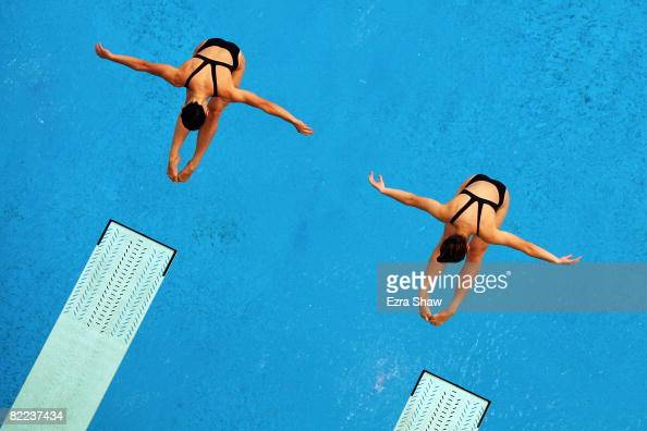 Julia Pakhalina of Russia and Anastasia Pozdnyakova of Russia competes in the Women's Synchronized 3m Springboard Final event held at the National...