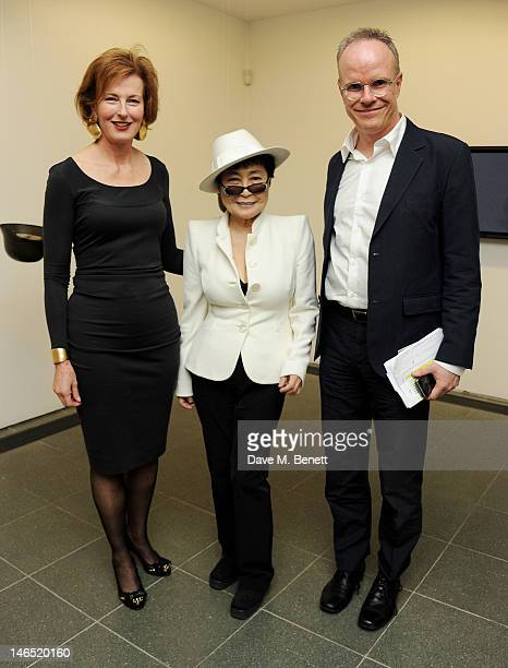 Julia PeytonJones Yoko Ono and Hans Ulrich Obrist attend a Council Reception launching Yoko Ono's exhibition 'To The Light' at The Serpentine Gallery...