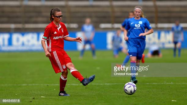 Julia Pollak of Bayern runs with the ball during the B Junior Girl's German Championship Semi Final match between SV Meppen and Bayern Muenchen at...