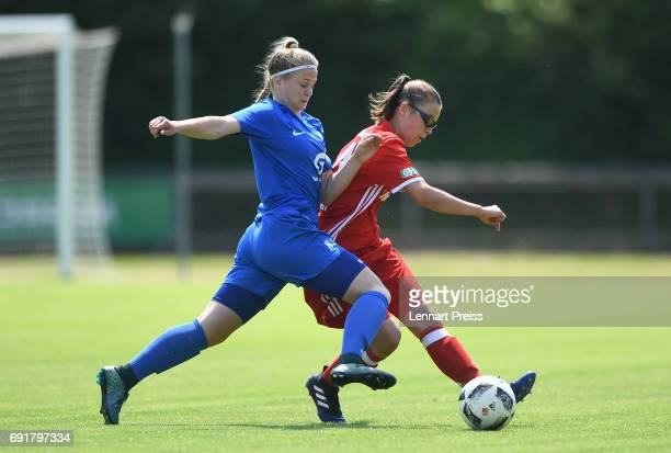 Julia Pollak of FC Bayern Muenchen challenges Patrizia Janssen of SV Meppen during the B Junior Girl's German Championship Semi Final First Leg match...