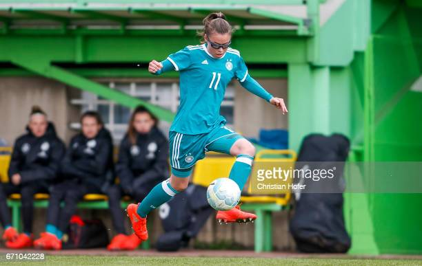 Julia Pollak of Germany controls the ball during the Under 15 girls international friendly match between Czech Republic and Germany on April 19 2017...