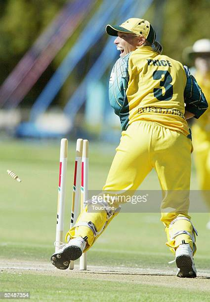 Julia Price celebrates the run out of Johmari Logtenberg during the International Womens Cricket World Cup match between South Africa and Australia...