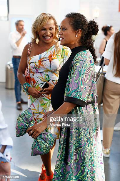 Julia Prillwitz and Milka Loff Fernandez attend the Thomas Rath show during Platform Fashion July 2016 at Areal Boehler on July 24 2016 in...