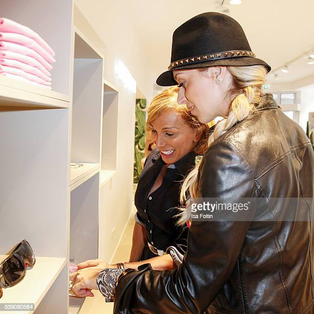 Julia Prillwitz and Moderator Verena Kerth attend the EDITEDthelabel Store Event on June 9 2016 in Munich Germany