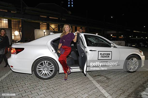 Julia Prillwitz arrives at the Breuninger show during Platform Fashion January 2017 at Areal Boehler on January 27 2017 in Duesseldorf Germany