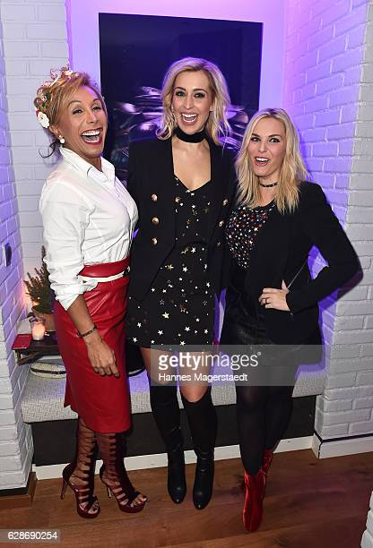 Julia Prillwitz Verena Kerth and Alessandra Geissel during the CONNECTIONS PR XMAS Cocktail at Kaefer Atelier on December 8 2016 in Munich Germany