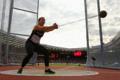 Julia Ratcliffe of New Zealand competes in the Women's Hammer final at Hampden Park during day five of the Glasgow 2014 Commonwealth Games on July 28...