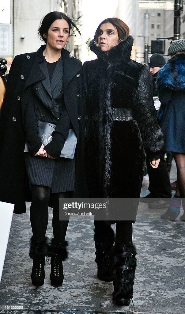 Julia Restoin Roitfeld and Carine Roitfeld arrive to the Alexander Wang show on February 9, 2013 in New York City.