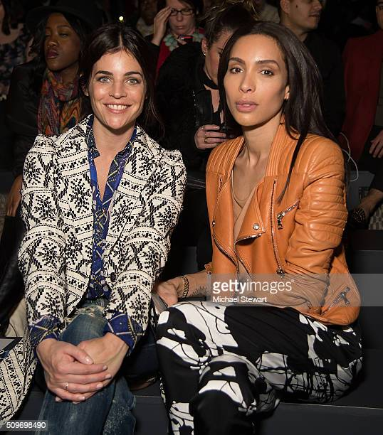 Julia Restoin Roitfeld and Ines Rau attend the Desigual Fall 2016 fashion show at The Arc Skylight at Moynihan Station on February 11 2016 in New...