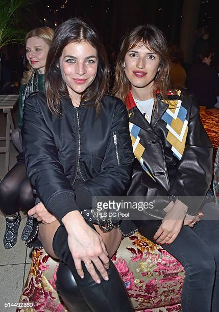Julia Restoin Roitfeld and Jeanne Damas attend the Miu Miu show as part of the Paris Fashion Week Womenswear Fall / Winter 2016 on March 9 2016 in...
