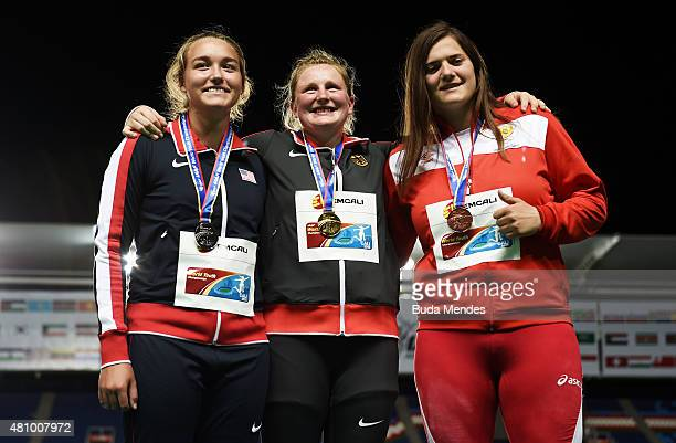Julia Ritter of Germany gold medal Sophia Rivera of the USA silver medal and Kristina Rakocevic of Montenegro bronze medal celebrate on the podium...
