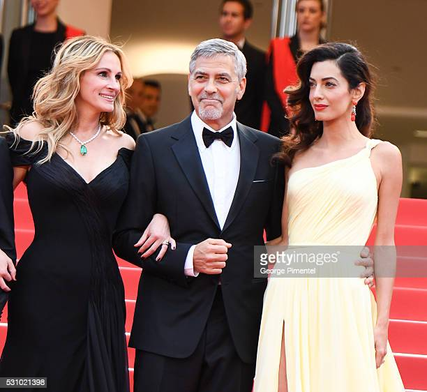 Julia Roberts Actor George Clooney and his wife Amal Clooney attend the screening of 'Money Monster' at the annual 69th Cannes Film Festival at...