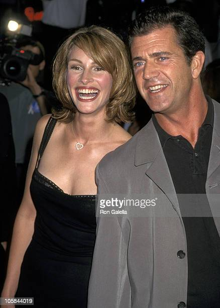 Julia Roberts and Mel Gibson during 'Conspiracy Theory' Premiere at Mann Village Theatre in Westwood California United States