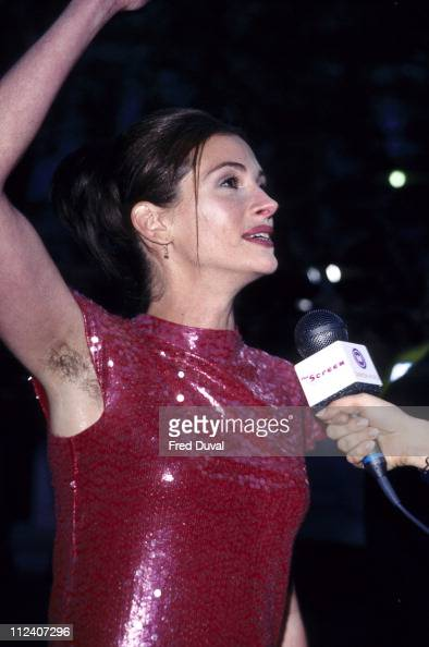 Julia Roberts during 'Notting Hill' London Premiere Arrivals at Leicester Square in London Great Britain